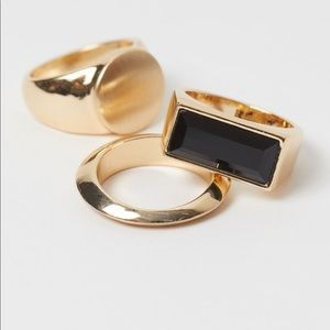 H&M SET OF 3 GOLD AND BLACK FASHION RINGS NEW M